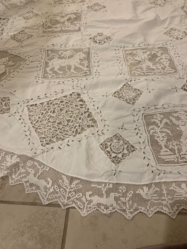 REMARKABLE French Antique Hand Made Tablecloth Needle Lace Lion Eyelet 52""