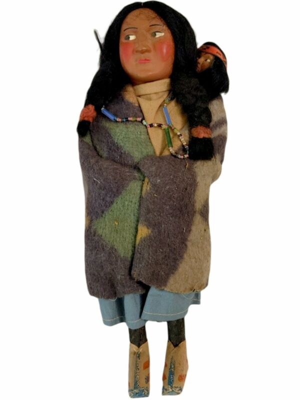 """Antique Skookum Indian Doll- 10"""" Woman with Papoose Trade Beads- Native American"""