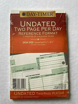 Day-timer Undated 2 Page Per Day Refill 2 Months Loose-leaf Desk Size 5.5x8.5
