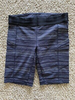 LULULEMON WHAT THE SPORT LONG NAVY BLUE CYBER STRIPE COMPRESSION SIZE 8 SHORT
