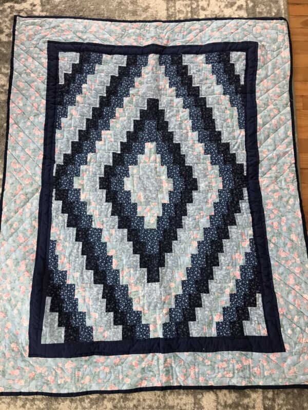 """Blue Pink Handmade Patchwork Log Cabin Baby Quilt 54"""" By 44""""hand Quilted"""