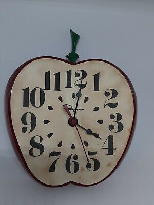 Vintage Ingraham Red Apple Wall Clock for Classroom Or Retro Kitchen Works