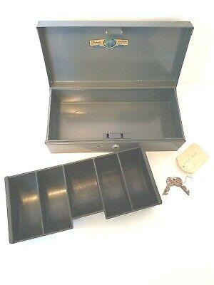Vtg Asco Steelmaster 10 Gray Metal Mcm Office Box 14 Cash Coin Tray 2 Keys