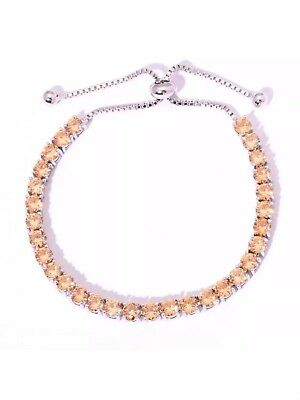 Golden Morganite 14Kt White Gold Over 5MM Cinch Tennis Bracelet 6 to10 In. NWOT