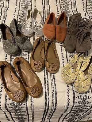 Womens Size 8-8.5 Shoe Lot Toms Tory Burch And More