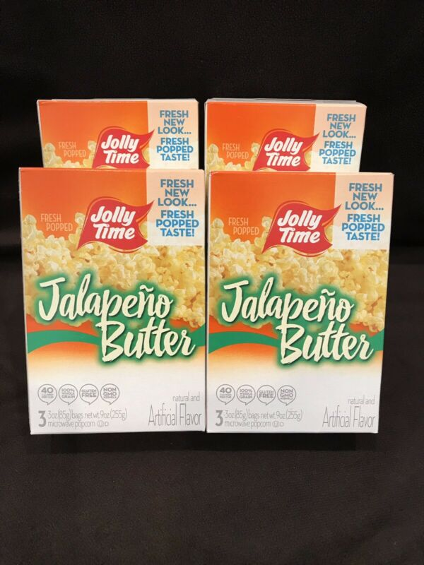 4 Pack Jolly Time Jalapeno Butter Popcorn (12 Bags) Exp: 01/2020