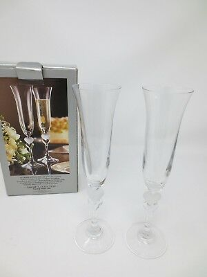 GORHAM Amore Collection TOASTING FLUTES with Two Hearts ~ Set of 2 ~ Germany