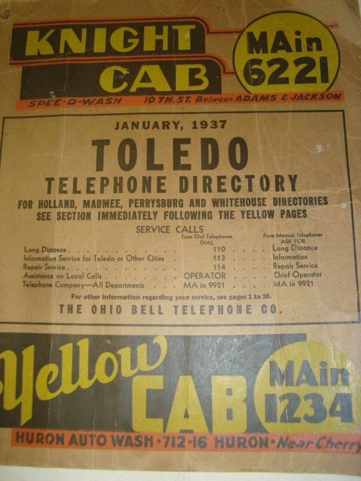 1937 TOLEDO OHIO BELL TELEPHONE DIRECTORY HOLLAND MAUMEE PERRYSBURG WHITEHOUSE  - $35.00
