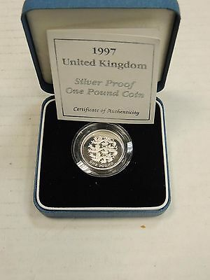 1997 Royal Mint Three Lions of England £1 One Pound Silver Proof Coin In Box COA