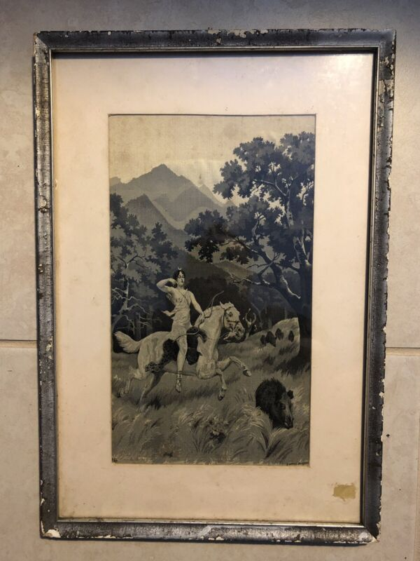 Neyret Freres Framed Tapestry Portrait Diana The Huntress George Busson