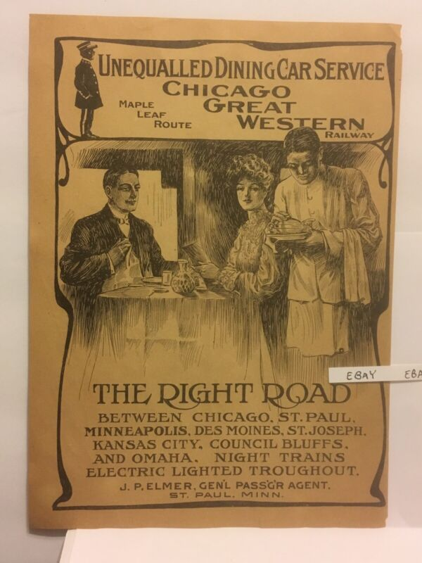 1904 Chicago Great Western Railroad Dining Car Service Ad Black Porter,   Waiter