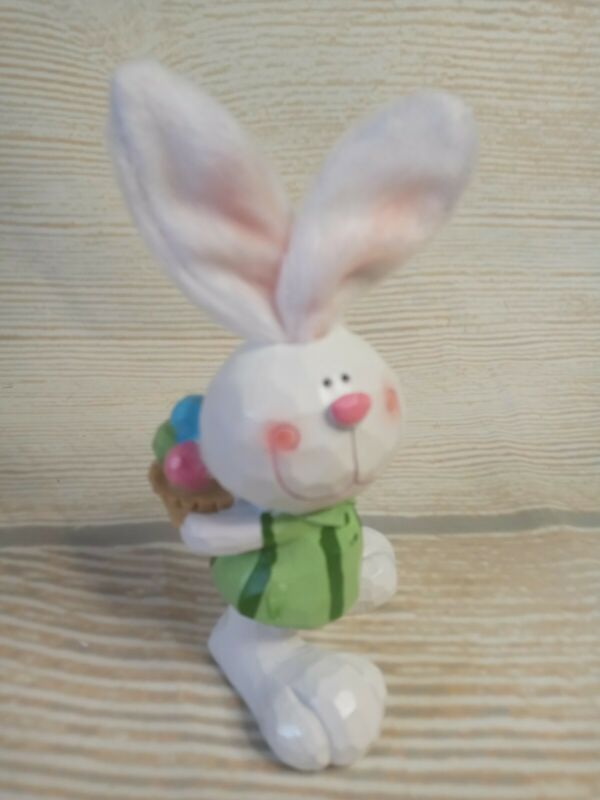 New Small Carved Bunny & Easter Eggs Basket Decor Spring Table Tier Tray Rabbit