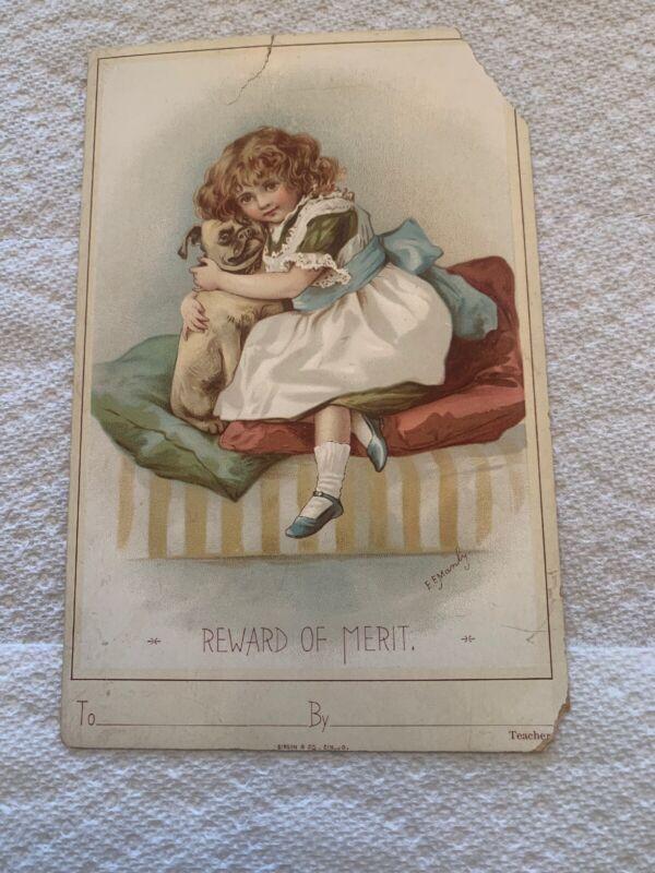 Vintage Reward Of Merit Card Teacher Student School Gibson 1900s Damage