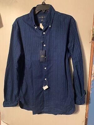NWT POLO RALPH LAUREN LS Button Down Shirt Blue Indigo SZ Large Slim Fit