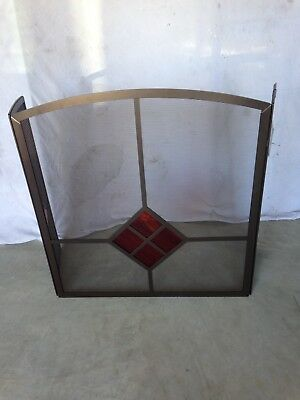 Pilgrim Fireplace Screen Model FSG-1230-BB Burnished Bronze/Garnet Glass 3 panel Pilgrim 3 Panel