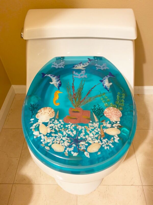 Brand New Polyresin Toilet Seat Aqua Dolphin & Fish WPL270