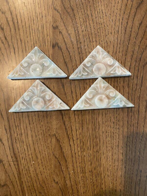 """Lot #5 Trent Triangle Antique Gothic Art Tiles Ceramic 1890 Victorian Deco 4""""x3"""""""