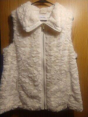 Calvin Klein Womens Off White Faux Fur Vest L NWT $109 Womens Fur Vest