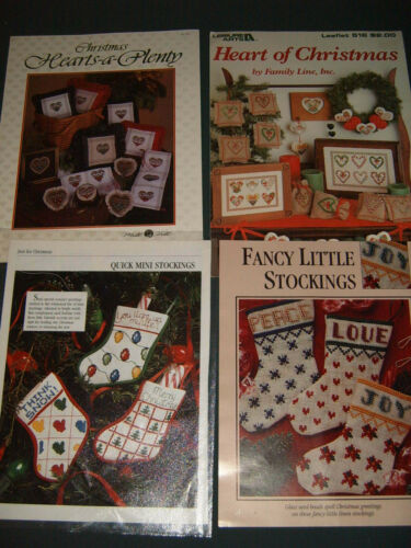 Cross Stitch Pattern Booklets - Christmas Collection - Hearts, Stockings, Set/4