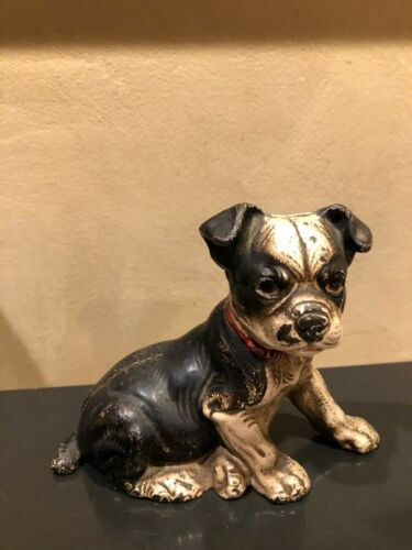 Hubley antique seated Boston terrier pup Cast iron still bank
