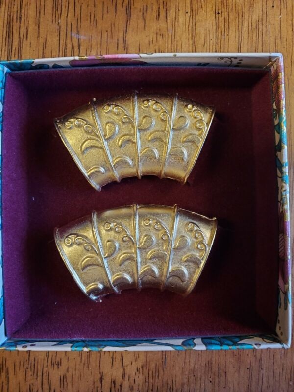 Vintage Ann Cahill Collection Gold Tone Scarf Tube Slider Ring Set