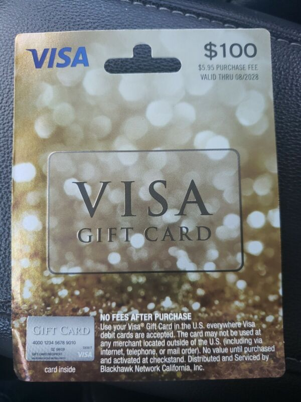 $100 GIFT CARD. ACTIVATED.  NO ADDITIONAL FEES, READY TO USE