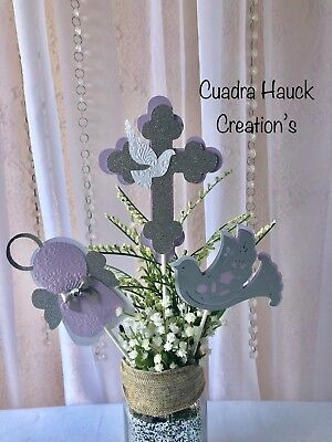 Baptism centerpieces sticks/ Lavender decorations/ angel decoration - Lavender Centerpieces