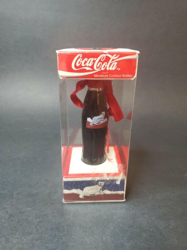 Coca-Cola Miniature Contour Bottle Ornament  c.1995 Holiday Bears