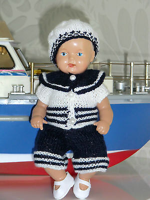 4-tlg Set Outfit Matrosen Marine  SK Strampelchen  Baby  Puppen 16 cm