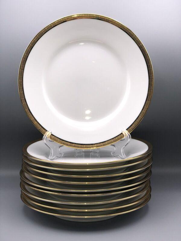 """Set 10 Vintage Richard Ginori """"Dorato"""" 7 5/8"""" White/Gold Salad Plates Italy"""