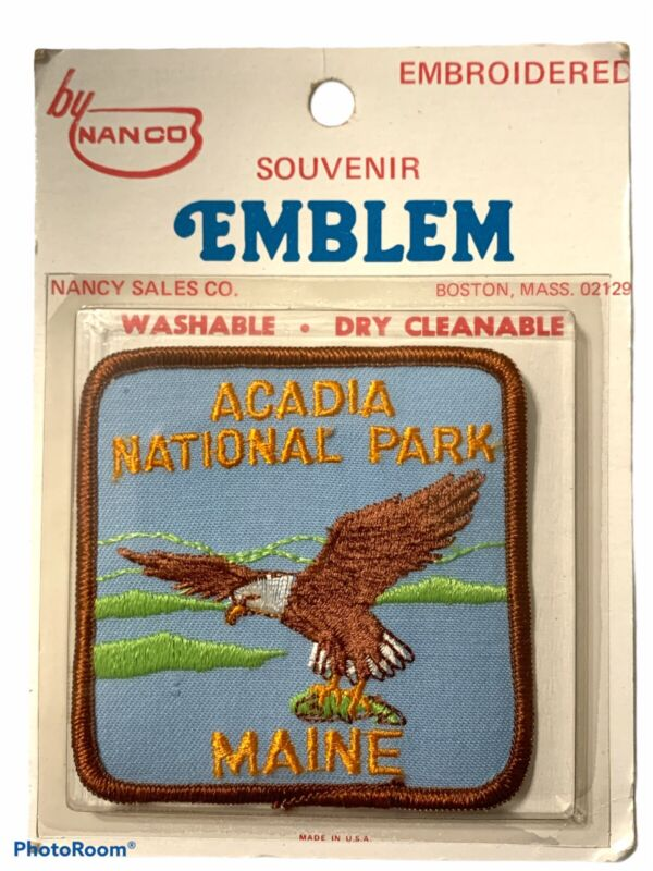 Acadia National Park Maine Patch Bald Eagle Souvenir Travel Embroidered Vtg NIP