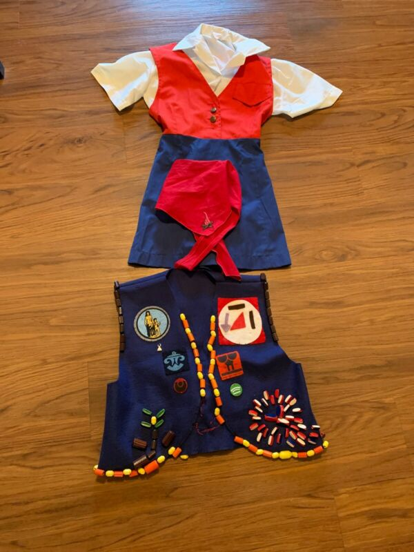 Vintage Campfire Girls Outfit Vest Beaded Scarf Patches Ponca City