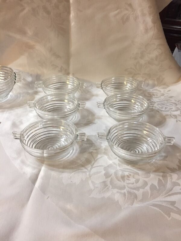 Set of 6 Anchor Hocking Manhattan Small Handled Berry Bowls 4.5""