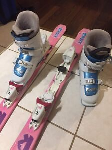Girl's downhill skis and boots for sale