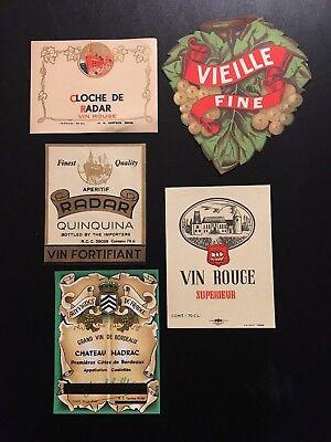 Original & Vintage  Lot  of 15 European Wine Labels Most France