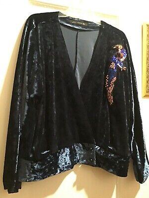 Zara Woman Sz. Large Beautiful Crushed Velvet Style Jacket w/ sequin peacock EUC