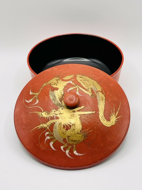 Vintage Japanese Lacquer Ware Wooden Soup Bowl with Lid Red Black Gold Dragon