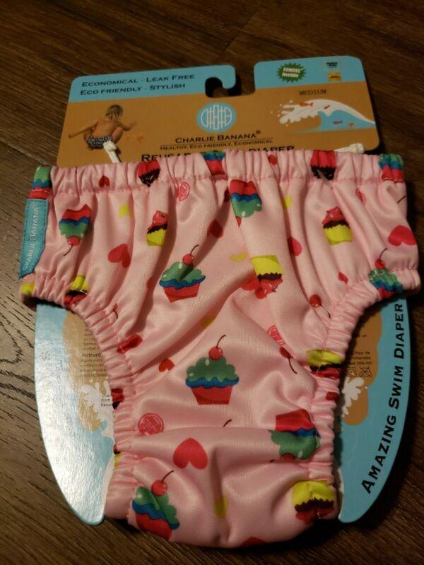 Charlie Banana Baby Reusable Swim Diaper Pink Cupcakes - Leak Free - Medium
