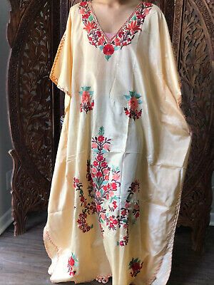 Boho Beige Hand Embroidered Beach Wedding Resortwear Loose Caftan Dresses