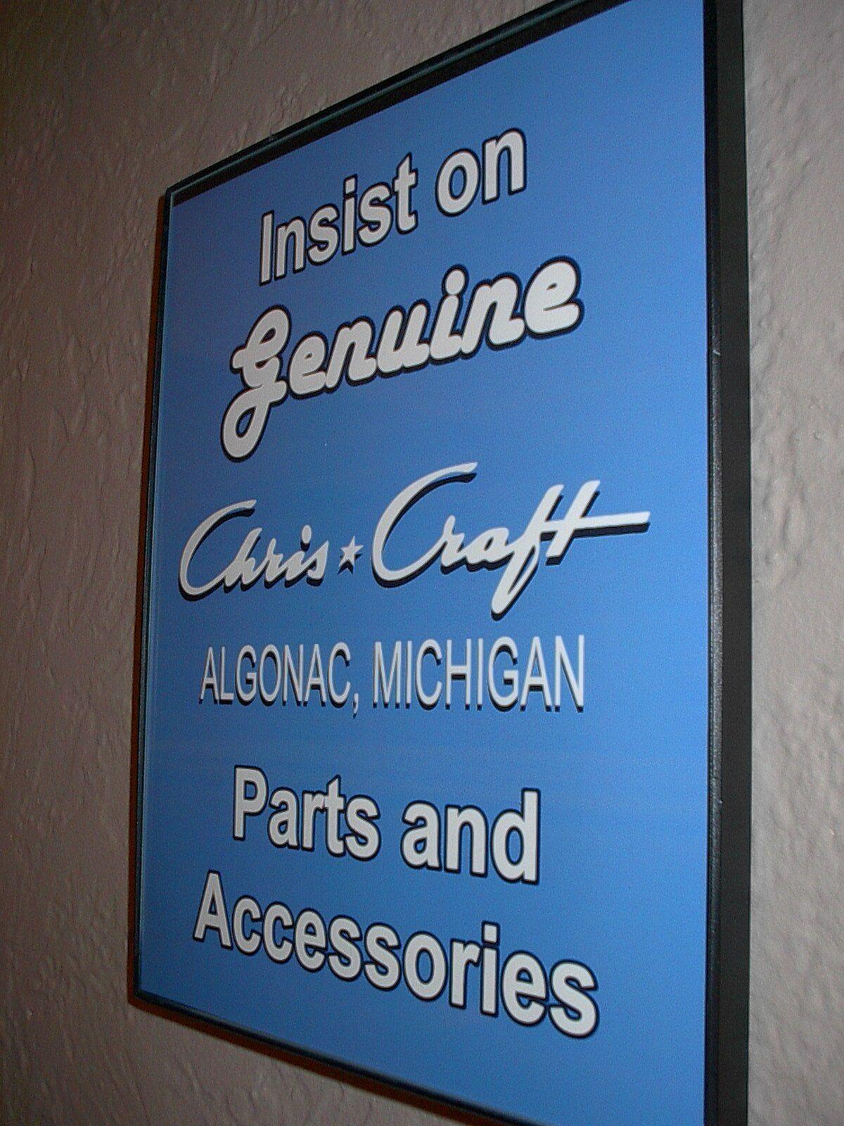 Chris Craft Wooden Boat Garage Gen.Parts Framed Advertising Print Man Cave Sign