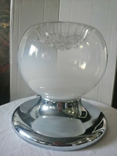 Chandelier Lamp Suspension Mazzega Glass Murano Steel 1970 Space Age