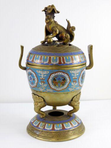 Brass Cloisonne Enamel Foo Guardian Dog Chinese Incense Burner or Censer Floral