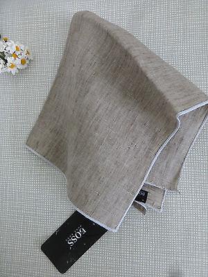 BNWT HUGO BOSS Light Beige 100% Linen Pocket Square Handkerchief Hankie