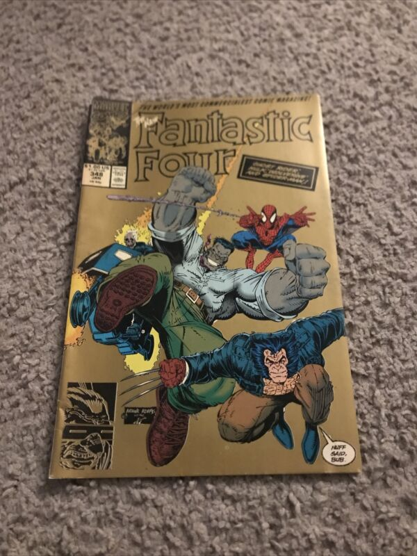 FANTASTIC FOUR #348. 2nd PRINT RARE GOLD COVER VG TO VG+