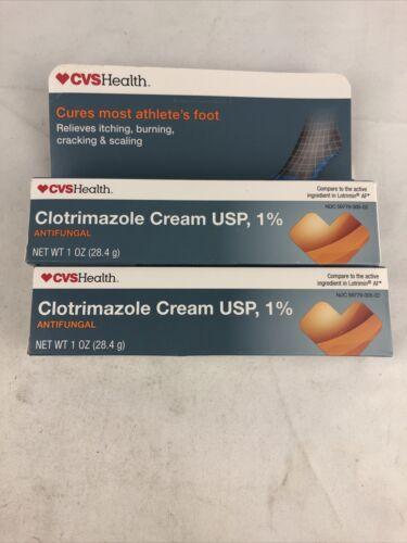 Lot of 2 CVS Athletes Foot Cream Usp Antifungal cream 1 oz E