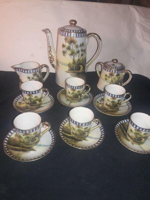 Vintage Chocolate Pot Set Hand Painted JAPAN Royal Trimmed 6 Serving / 17 Piece