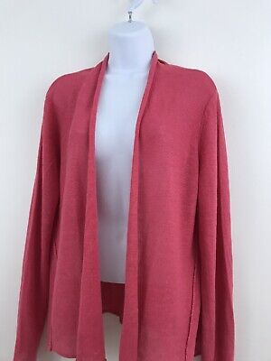 Eileen Fisher Linen PLarge Open Front Cardigan Knit Stretch Tunic Long Sleeve A6