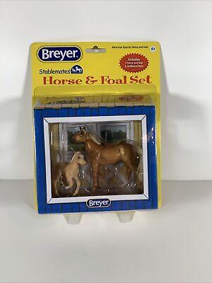 NIP BREYER STABLEMATES - AMERICAN QUARTER HORSE & FOAL SET #5922 1:32 Scale