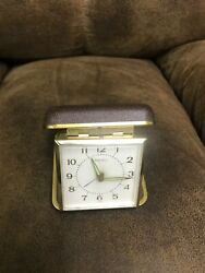 Vintage Seiko Travel Alarm Clock Folding Brown Leather Case