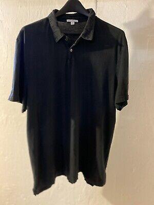 $115 James Perse Standard Men's Short Sleeve Black Cotton USA Polo Shirt Size 4